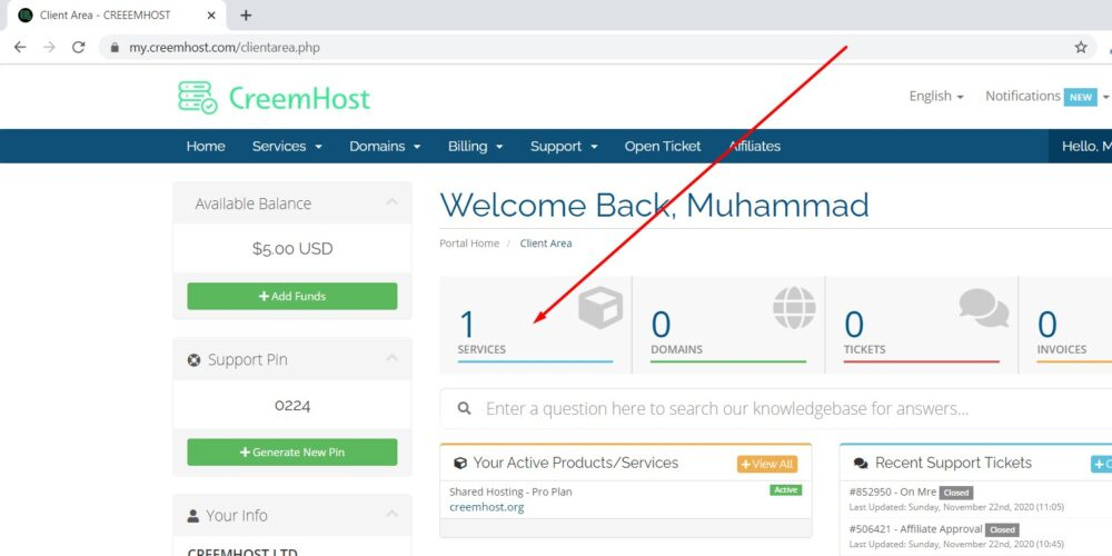 Change CreemHost cPanel Password From Client Area
