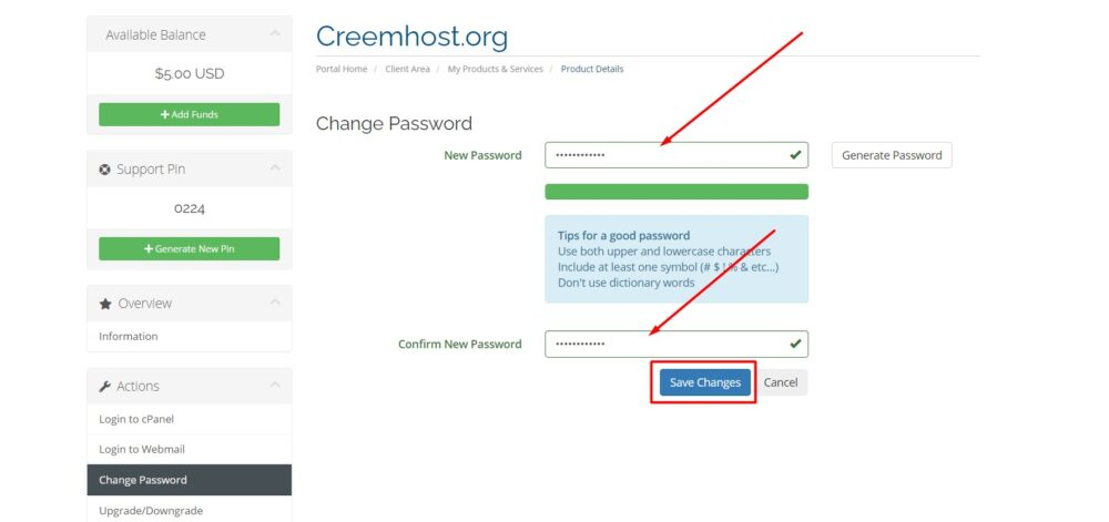 Change CreemHost cPanel Password From Client Area3