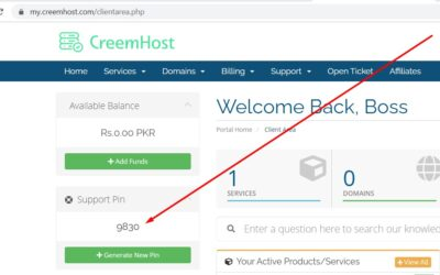 How To Find Support PIN From CreemHost Client Area