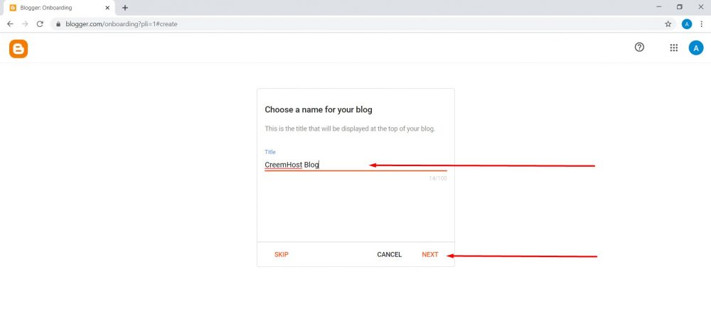 Create blog on google blogger